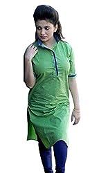 Maa Textile Women's See Green semi-Stitched kurtis(K1021_Black_free size)