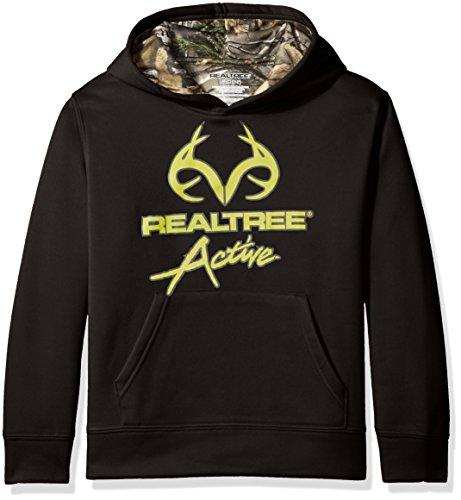 Realtree Big Boys' Screened Logo Hoody, Black, XL (14-16)