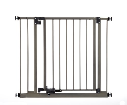 North States Supergate Slide-Step and Lock Open Gate, Burnished Steel