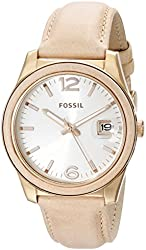 Fossil Women's ES3732 Perfect Boyfriend Rose Gold-Tone Stainless Steel Watch with Leather Band
