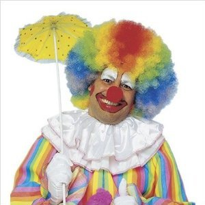 Jumbo Rainbow Afro Clown Wig - 1