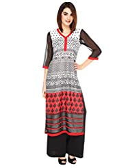 Fashion205 Red And Black Printed Georgette Long Kurti - B0102CT1X2