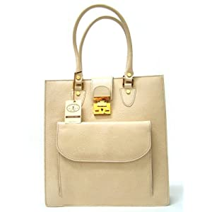 L.A.P.A. Italian Designer Handbag Tote in Ivory Leather