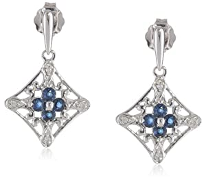 14k White Gold Blue Sapphire and Diamond-Accent Drop Earrings