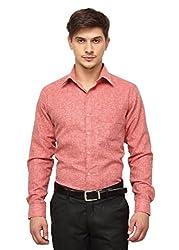Copperline Red Striped Slimfit Fullsleeves Cotton Formal Shirts