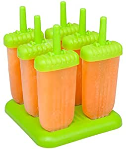 Ozera Repeated Use Popsicle Molds Ice Pop Molds, Set of 6, Green