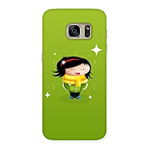 Delighted Laughing Cute Girl Print Back Case Cover for Galaxy S7