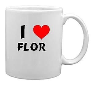 Amazon.com: I Love Flor Coffee Mug (first name/surname/nickname): Home