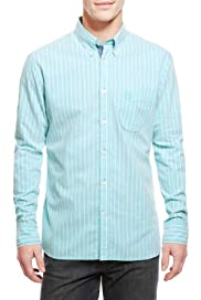 Blue Harbour Pure Cotton Tailored Fit Striped Oxford Shirt [T25-6072B-S]