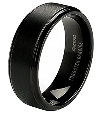 King Will 8mm Black Tungsten Ring Men's Wedding Band Comfort Fit Brushed Finish Center Step Edge