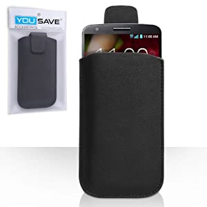 LG G2 Case Black Lychee Leather Pouch Cover