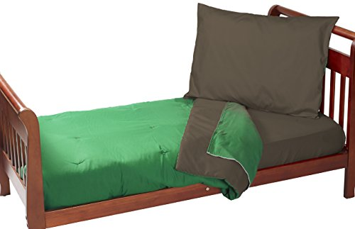 Baby Doll Reversible Toddler Bedding, Brown/Green - 1