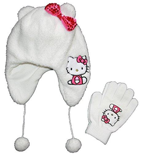 [Hello Kitty Little Girls Plush Winter Hat & Gloves Set] (Hello Kitty Ears)