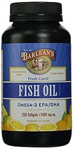 Barlean's Organic Oils Fresh Catch Fish Oil, Omega-3,  Orange Flavor,  250-Softgels / 1000 mg each