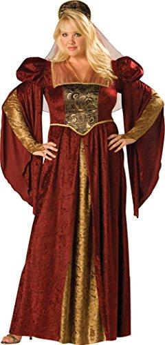 InCharacter Costumes Women's Plus-Size Renaissance Maiden Plus Size, Burgundy/Gold, 3X