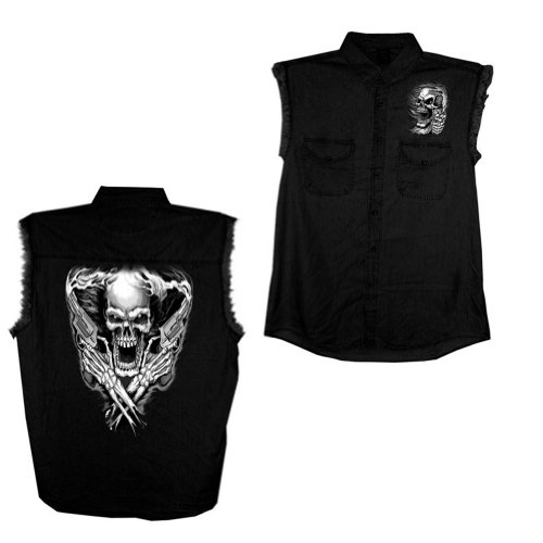 Hot Leathers Assassin Sleeveless Denim Shirt (Black, Medium)