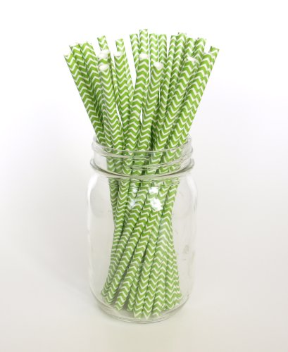 Green Zig Zag Chevron Straws - 25 - Christmas Straws Or St. Patrick'S Day Party, Green Chevron Straws front-957125