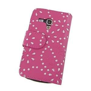 Handytasche Business Case Cover Samsung Galaxy S3 mini i8190 Smartphone Etui Flip Glitzer shiny chic Fashion Blink Strass pink Blumen Blumenmuster