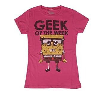 Bioworld Juniors Spongebob Squarepants Geek T-shirt (Large/Pink)