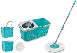 Tomop 2 Compartment Easy Wring Spin Mop and Bucket System ,More Solid ! More Convenient !