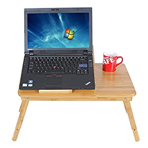 SONGMICS Bamboo Laptop Desk Adjustable Breakfast Serving Bed Tray w' Tilting Top Drawer ULLD001 by Songmics