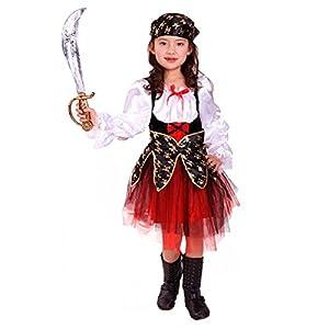 Deguisement Enfant Costume Halloween fille robe Pirate des Caraibes rouge