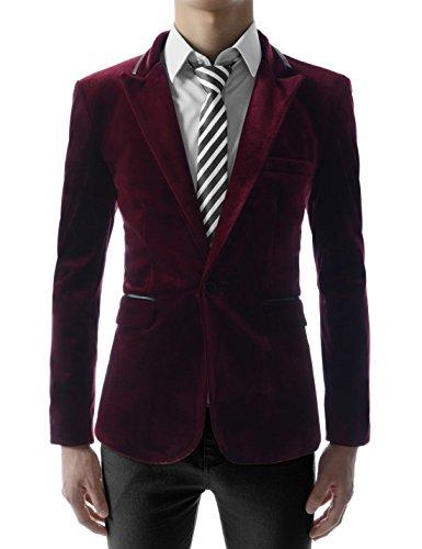 (JKV01) Mens Slim Fit Single Breasted Peaked Lapel 1 Button Velvet Blazer WINE US M(Tag size 2XL)