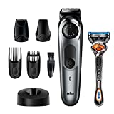 Braun Beard Trimmer for Men BT7240, Cordless & Rechargeable Hair Clipper, Detail Trimmer, Mini Foil Shaver with Gillette ProGlide Razor, Black/Silver Metal