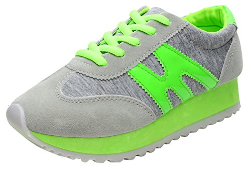 XIAXIAN Breathable Canvas Korean Style Platform Classical Running Shoes(7 B(M) US, Green)