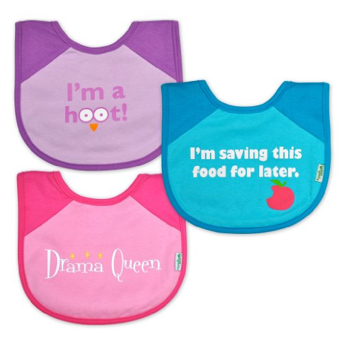 Green Sprouts 3 Count Personality Bib, Girl front-867309