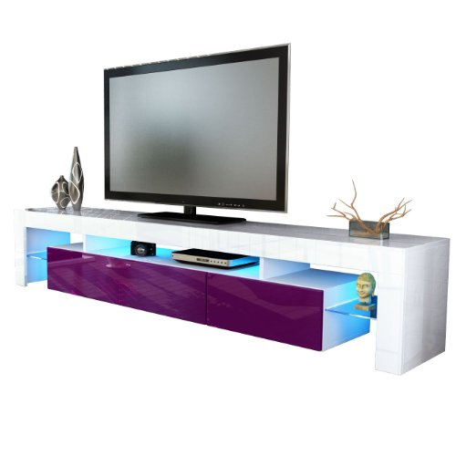 TV Stand Unit Lima V2 in White / Raspberry High Gloss Black Friday & Cyber Monday 2014