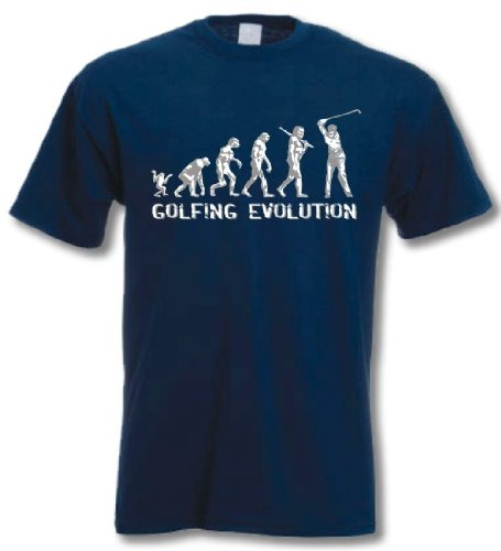 GOLF EVOLUTION - Funny Birthday Gift / Present T-Shirt Navy L