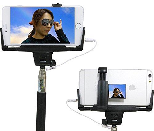 viewing(ビューイング) ミラー付きモデル セルフィースティック Cable take pole 有線 スマホ 自画撮り 自撮り棒 設定不要 電池不要 手元でワンタッチ撮影 MONOPOD 手元シャッターボタン付き iPhone専用 6plus / 6 / 5C / 5S / 5 / 4S (ミラー付き/ブラック)