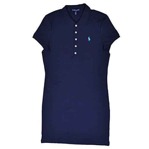 Polo Ralph Lauren Womens' 5 Button Interlock Dress (M, Navy Aqua Pony)