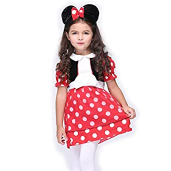 B-JOY Red Minnie Mouse Costume Dress with Mickey Mouse Ears Headband
