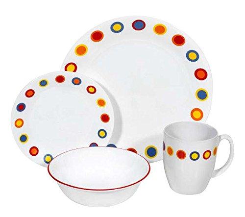 corelle-geschirr-set-hot-dots-aus-vitrelle-glas-fur-4-personen-16-teilig-splitter-und-bruchfest-rot-