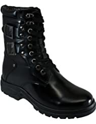 CALDEN - K512666 - 3.1 Inches Taller - Height Increasing Elevator Shoes (Black Leather Lace up Military Combat...