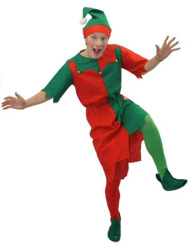 ELF COSTUME 3 PIECE MENS FANCY DRESS INC TUNIC+HAT+SHOE COVERS CHRISTMAS