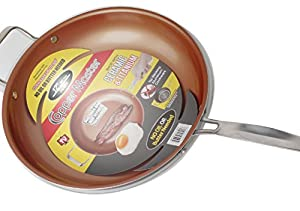 Ceramic & Titanium Non-Stick Frying Pan - 12 inch Dishwasher & Oven Safe Non-Scratch Cookware With Induction Plate - By Copper Master