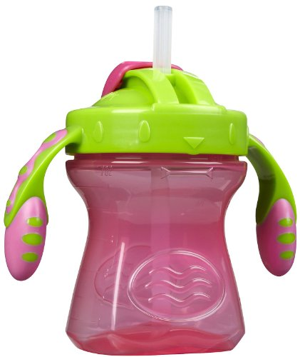 Playtex Baby First Lil' Gripper Twist 'n Click Straw Trainer Cup, 7 Ounce, Colors May Vary