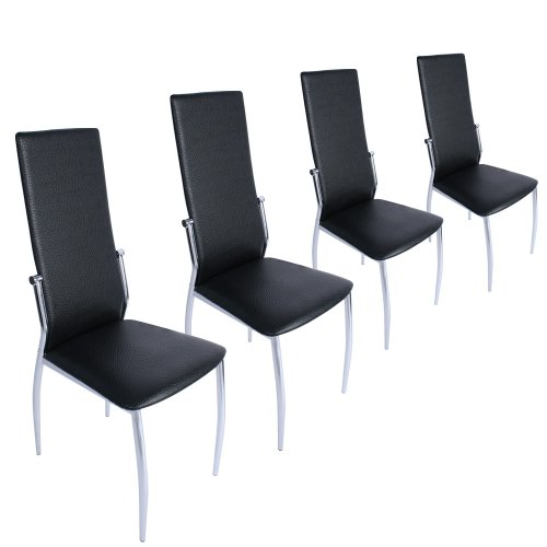 Furniture Set Of 4 Dining Chairs Black Alfreda S Vincent