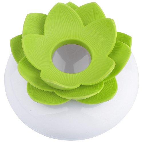 Jovivi Boîte Plastique Rangement Pour Cotons Tiges Écouvillons En Forme Lotus - Vert