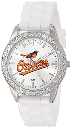 Game Time Ladies MLB-FRO-BAL Frost MLB Series Baltimore Orioles 3-Hand Analog Watch by Game Time