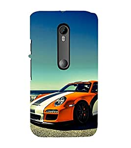 Fuson Premium Back Case Cover Stylish car near beach With Orange Background Degined For Motorola Moto G3::Motorola Moto G (3rd Gen)