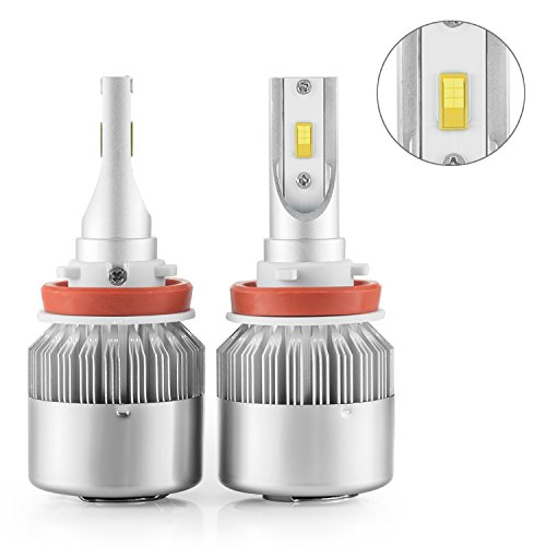 Simdevanma LED Automobile Headlight Bulbs with Advanced LED Chip and All-in-One Conversion kit-72W/7,600LM/6,000K-2 Year Warranty(Upgraded Version) (H11(H8,H9)) (Automobile Headlight Bulbs compare prices)