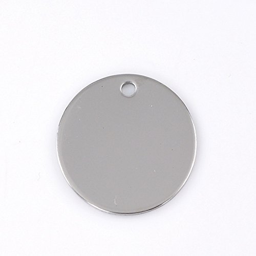 HOUSWEETY 10PCs Round Stainless Steel Stamping Blank Tags Pendants 30mm(1 1/8