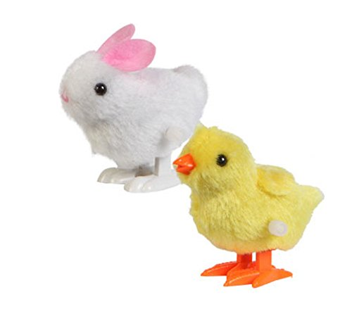 Plush Wind-up Hopping Friends Chicks and Bunnies, 3""
