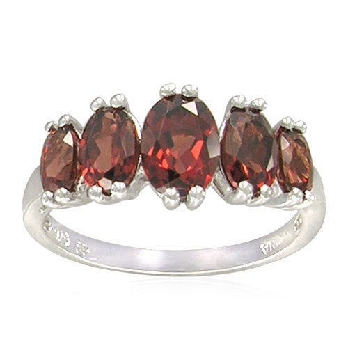 Sterling Silver Oval-Shaped Garnet Ring, Size 6