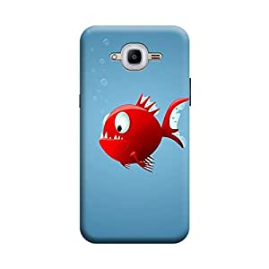 BUZZWORLD Samsung J2 2016 Red Fish 3D Printed Mobile Back Case Cover (Matte) (Red)