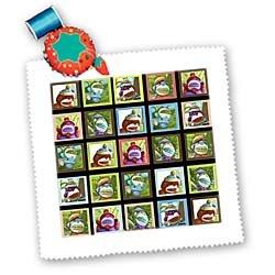Lee Hiller Designs Colorful Sock Monkeys - Colorful Sock Monkeys Squares I - Quilt Squares